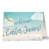 Over The Moon Personalized Baby Greeting Card - 20458