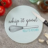 Kitchen Puns Round Glass Cutting Board- 8