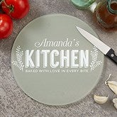 Her Kitchen Personalized Round Glass Cutting Board- 8