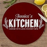 Her Kitchen Personalized Round Glass Cutting Board- 12
