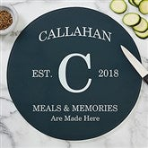 Family Kitchen Personalized Round Glass Cutting Board - 12