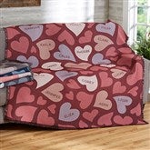 Loving Hearts Personalized Woven Throw - 20545-A