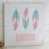 3 Feathers Personalized Boho Collection Canvas Print-12