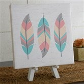 3 Feathers Personalized Boho Collection Canvas Print-5½ x 5½ - 20585-5x5