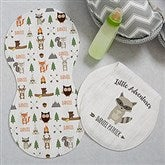 Woodland Adventure Raccoon Personalized Burp Cloths - Set of 2 - 20619-R