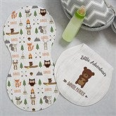 Woodland Adventure Bear Personalized Burp Cloths - Set of 2 - 20619-B