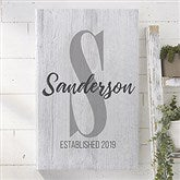 Farmhouse Initial Accent Personalized Canvas Print- 16
