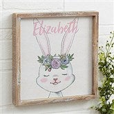 Woodland Floral Bunny Personalized Barnwood Frame Wall Art- 12