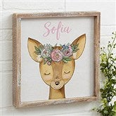 Woodland Floral Deer Personalized Barnwood Frame Wall Art- 12