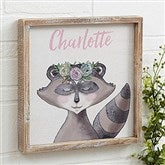 Woodland Floral Raccoon Personalized Barnwood Frame Wall Art- 12