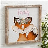 Woodland Floral Fox Personalized Barnwood Frame Wall Art- 12