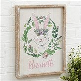 Woodland Floral Bunny Personalized Barnwood Frame Wall Art- 14