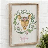 Woodland Floral Deer Personalized Barnwood Frame Wall Art- 14