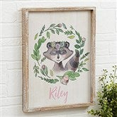 Woodland Floral Raccoon Personalized Barnwood Frame Wall Art- 14
