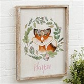 Woodland Floral Fox Personalized Barnwood Frame Wall Art- 14