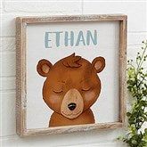 Woodland Bear Personalized Barnwood Frame Wall Art- 12