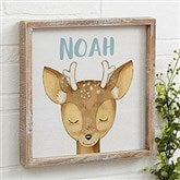 Woodland Deer Personalized Barnwood Frame Wall Art- 12