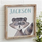 Woodland Raccoon Personalized Barnwood Frame Wall Art- 12
