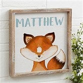 Woodland Fox Personalized Barnwood Frame Wall Art- 12