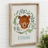 Woodland Bear Personalized Barnwood Frame Wall Art- 14