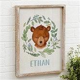 Woodland Bear Personalized Barnwood Frame Wall Art- 14