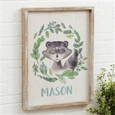 Woodland Raccoon Personalized Barnwood Frame Wall Art- 14