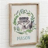 Woodland Raccoon Personalized Barnwood Frame Wall Art- 14