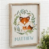 Woodland Fox Personalized Barnwood Frame Wall Art- 14