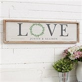 LOVE Wreath Personalized Barnwood Frame Wall Art - 30