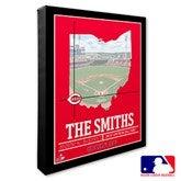 Cincinnati Reds Personalized MLB Stadium Coordinates Canvas Print - 20700-16x20