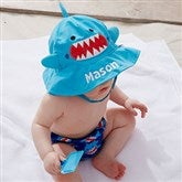 Shark Embroidered Sun Hat & Diaper Cover Set - 20754