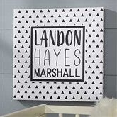 Black & White Personalized Baby Canvas Print - 16