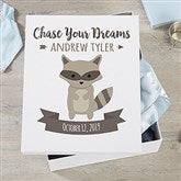 Woodland Adventure Raccoon Personalized Baby Keepsake Box - 20948-R