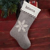 Classic Herringbone Snowflake Personalized Christmas Stocking - 20985