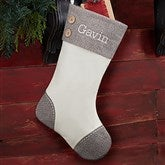 Classic Herringbone Cuff Personalized Christmas Stocking - 20985-I