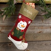 Rustic Girl Snowman Personalized Christmas Stocking - 20992-G