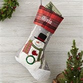 Wintry Cheer Snowman Personalized Christmas Stocking - 20996-SM