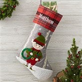 Wintry Cheer Elf Personalized Christmas Stocking - 20996-E