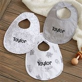 Safari Grey Personalized Baby Bib Set of 3 - 21020