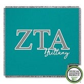 Zeta Tau Alpha Personalized Greek Letter Woven Throw - 21035-A