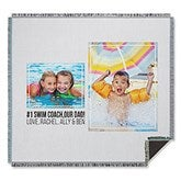 Two Photo Collage Personalized Woven Throw For Him - 21051-A