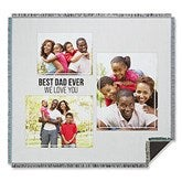 Three Photo Collage Personalized Woven Throw For Him - 21053-A