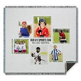 Six Photo Collage Personalized Woven Throw For Him - 21057-A