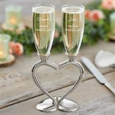 Connected Hearts Personalized Wedding Flute Set - 21109