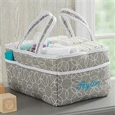 Personalized Embroidered Gray Diaper Caddy - 21138-G