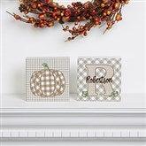 Fall Plaid Pumpkin Personalized Shelf Blocks- Set of 2 - 21166