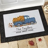 Classic Fall Vintage Truck Personalized Doormat- 18x27 - 21171