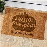 Hello Pumpkin Typography Personalized Coir Doormat - 18x27 - 21179