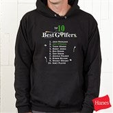 Top 10 Golfers Personalized Black Adult Hooded Sweatshirt - 2120BS