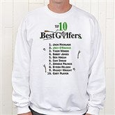 Top 10 Golfers Personalized White Adult Sweatshirt - 2120S